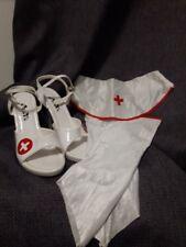 RED CROSS high heel nurse stilettos arm bands visor Costume pieces EUC