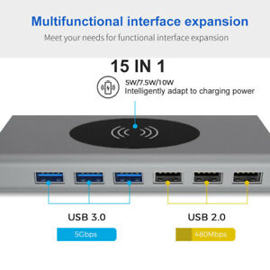 14/15 in 1 Laptop Docking Station USB Type-C Hub Adapter w/ Wireless&PD Charging