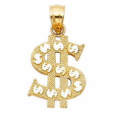 14K Solid Yellow Gold Money $ Dollar Sign Charm Pendant 1 gram 0.5 inches