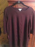 Womens J Jill Wearever Collection Dress PM Plum - with Pockets