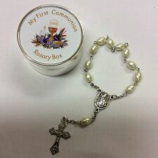 Communion Rosary Box (lovely silver box and first rosary beads)