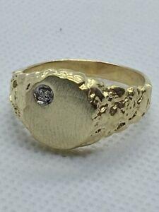 MEN'S YELLOW GOLD & DIAMOND SIGNET RING SIZE 11.5