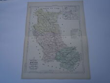 Carte 19° 1852  couleur atlas Malte brun Département de la Loire Plan Montbrison