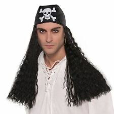 Adult Pirate Wig Black Buccaneer with Bandana Fancy Dress Costume Accessory