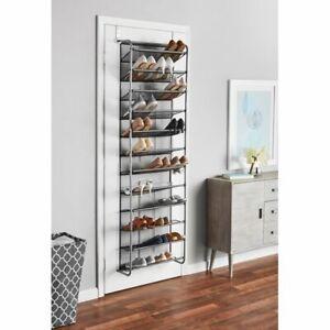 Mainstays 36 Pair over The Door 12 Tier Metal Mesh Shoe Rack
