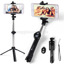 Black Extendable Selfie Stick Tripod Remote Wireless Shutter For iPhone 7 8 X XS