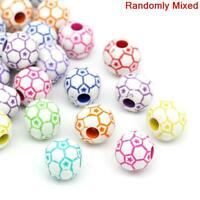 10 x Mixed Football / Soccer Pony Beads 12mm Dummy Clips, Loom Bands