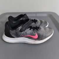 Nike Flex RN 2018 Youth Size 1Y Running Shoes Black/White Athletic Strap Sneaker