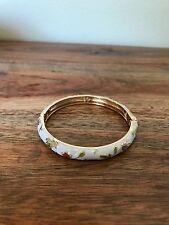 BRAND NEW Gold Filled Cloisonne Enamel Hinge Bangle Bracelet. White