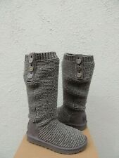 UGG CHARCOAL TALL PURL CARDY KNIT/ SHEEPWOOL BOOTS, WOMEN US 7/ EUR 38 ~NEW