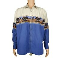 Wrangler VTG Snap Western Shirt Blue Cream Wild Horse Running Mens Sz XL