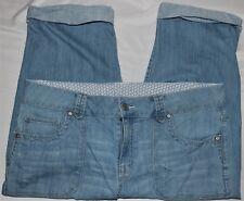 Jean Capris Size 14 Faded Glory Light Blue Denim Cotton Stretch Cuffs