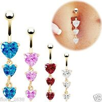 Piercing Nombril plaqué or, coeurs cristal bleu, rose, blanc, bijoux fantaisie