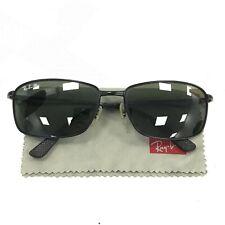 Ray Ban RB3501 006/9A Polarized Sunglasses Black Metal Frame Retro & Case 281830