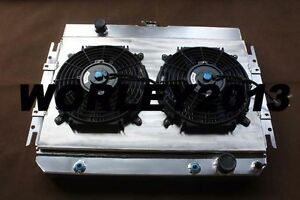 Aluminum radiator & shroud & fans for Chevy Impala L6 V8 63-68 & EI Camino 64-67