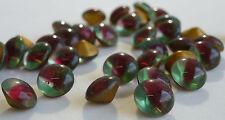Rare 24 Vintage Glass Rhinestones 40ss Round  Red/Green Cubas Foil Germany G4-6B