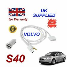 VOLVO S40 For Apple iPhone 3gs 4 4s iPod Audio Cable & 1.0A Power Adapter w