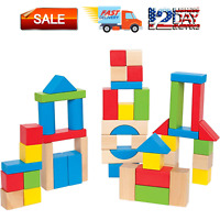 Stacking Blocks for 3+ Years Old Kids Boys Girls Children 120Pcs Wooden Toddler Toys with City Map Construction Wooden Blocks Preschool Learning Educational Toys Multicolored