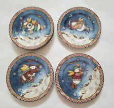 Debbie Mumm Christmas Sakura SNOW ANGEL VILLAGE Dessert Salad Plates Snowman (8)