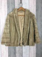 Vintage Astraka Faux Fur Cream Beige Wide Sleeve Short Coat Size UK 14