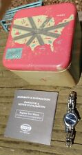 RARE FOSSIL ES-8966 WOMENS STAINLESS WATCH + SHINY ICE BLUE FACE + MANUAL & TIN