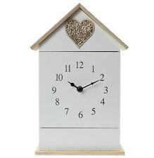 Wall Mounted or Standing Clock With Key Holder 6 Hook Love Heart House Shap
