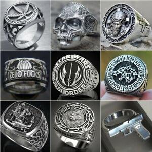 Fashion 925 Silver Steel Gothic Punk Biker Rings Mens Skull Jewelry Gift SZ 6-13