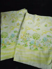 2 Vintage Dundee Yellow Flannel Receiving Blanket Bears Cats Trees