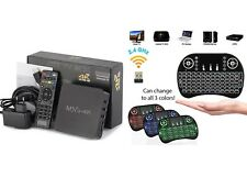 MXQ 4K Kodi 17.6 Android 1080P 8GB Smart TV Box w Remote + Backlit Mini Keyboard