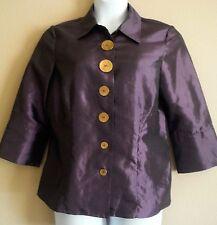 Agora Womens Size Large Dark Plum Shinny 3/4 Sleeve Button Front Dress Shirt