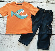 CRAZY 8 / GYMBOREE Boys Googly Eye Orange Piranha Tee and Jeans 2 2T 3 3T VGUC