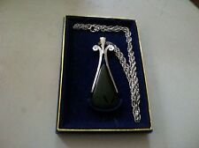 "Vintage Avon Black Onyx Pendant With Silver 24"" Chain Necklace In Original Box"