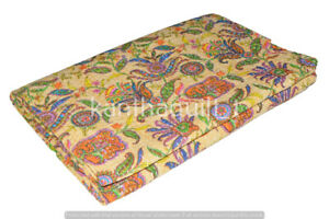 Indian Reversible Paisley Kantha Quilt Yellow Double Blanket Throw Art