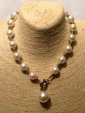 STATEMENT Big Large Gold Beaded FAUX PEARL Collar Bib Choker Necklace Vintage UK