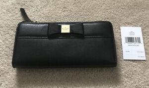 NWT Kate Spade Nisha Renny Drive Bow Wallet Black $198