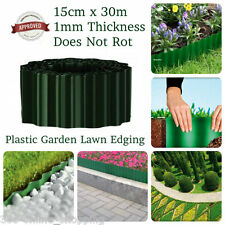 30m x 15cm Green Plastic Heavy Duty Garden Landscaping Borders And Lawn Edging