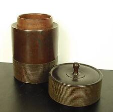 Ancienne boite rouleau art-déco en acajou massif 11cm 345 g ancient mahogany box