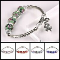 Elegant Flower Glass Beads Charm Bracelet Silver Plated Chain Bangle for Women