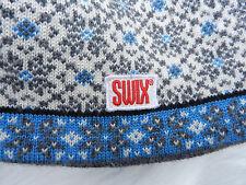 SWIX Ski Hat Blue White Gray Cap Snowflake Fair Isle Knit Stretchy 100% Wool