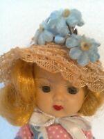 """Vintage 1950s 8"""" Walker NASB Muffie Doll Brown Eyed Blond Orig. Pink Dress Hat"""