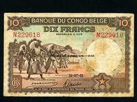 Belgian Congo:P-14B,10 Francs, 1942 * Dancing Watusi *