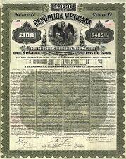 México – Republica Mexicana, 5% Bond, 100 libras, 1899!