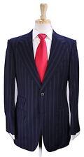 * GUCCI * Tom Ford Era Black w/ Electric Blue Stripes 2-Btn Slim Wool Suit 38R