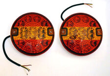 PAIR 12V/24V LED REAR TAIL ROUND SLIM HAMBURGER LIGHTS LAMPS TRAILER TRUCK LORRY