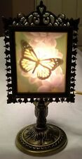 Butterfly, colored, Porcelain Lithophane Antique Brass Victorian Lamp Stand