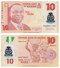 Nigeria 10 NGN 2011 Polymer 7 cifre P-39c BANCONOTE UNC