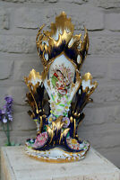 LARGE antique vieux paris porcelain pique fleur Cornet vase putti floral decor