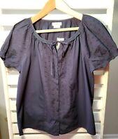 Van Heusen Women's Shirt Short Sleeve Navy Blue Lace Eyelet Button Up Size M NEW