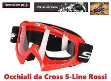 """Maschera - Occhiali da Cross """"S-Line"""" di colore Rosso Unisex - Vetro trasparente"""