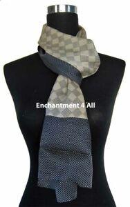 Double Layer 100% Silk Satin Neck Scarf Wrap, Beige/Navy